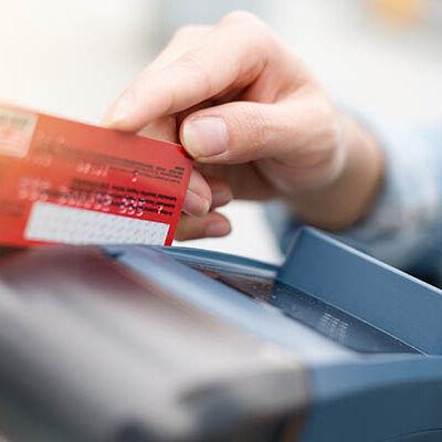 Debit card swiping on card reader device